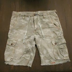 True Religion vintage camo cargo cutoff shorts